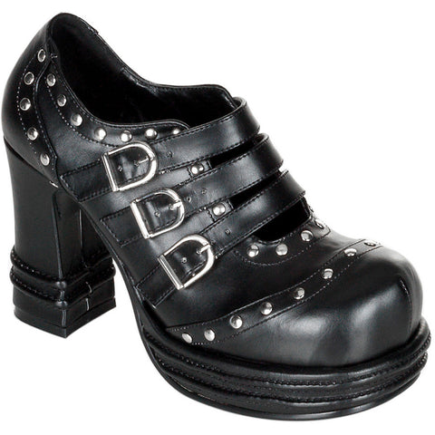 Women's Demonia Vampire-08 Studded Shoe Black Goth Punk Studs