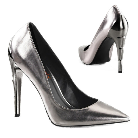 Women's Demonia Voltage-01 Pewter Chrome Lightning Bolt Heel