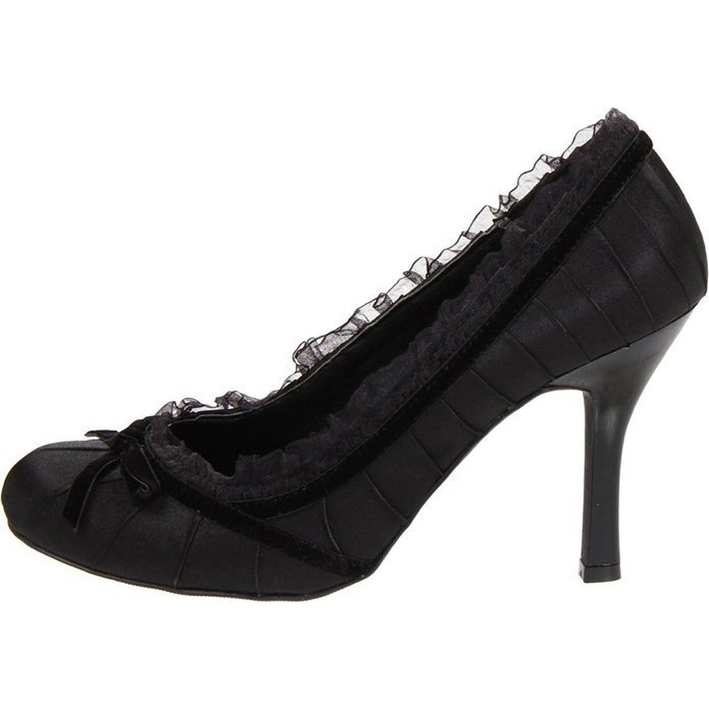 Women's Ellie Shoes 406-Doll Satin Pump Black Retro Vintage Pin Up Ruffles Bow