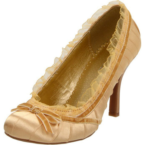 Women's Ellie Shoes 406-Doll Satin Pump Gold Retro Vintage Pin Up Ruffles Bow