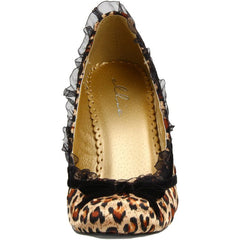 Women's Ellie Shoes 406-Doll Satin Pump Leopard Retro Vintage Pin Up Ruffles Bow