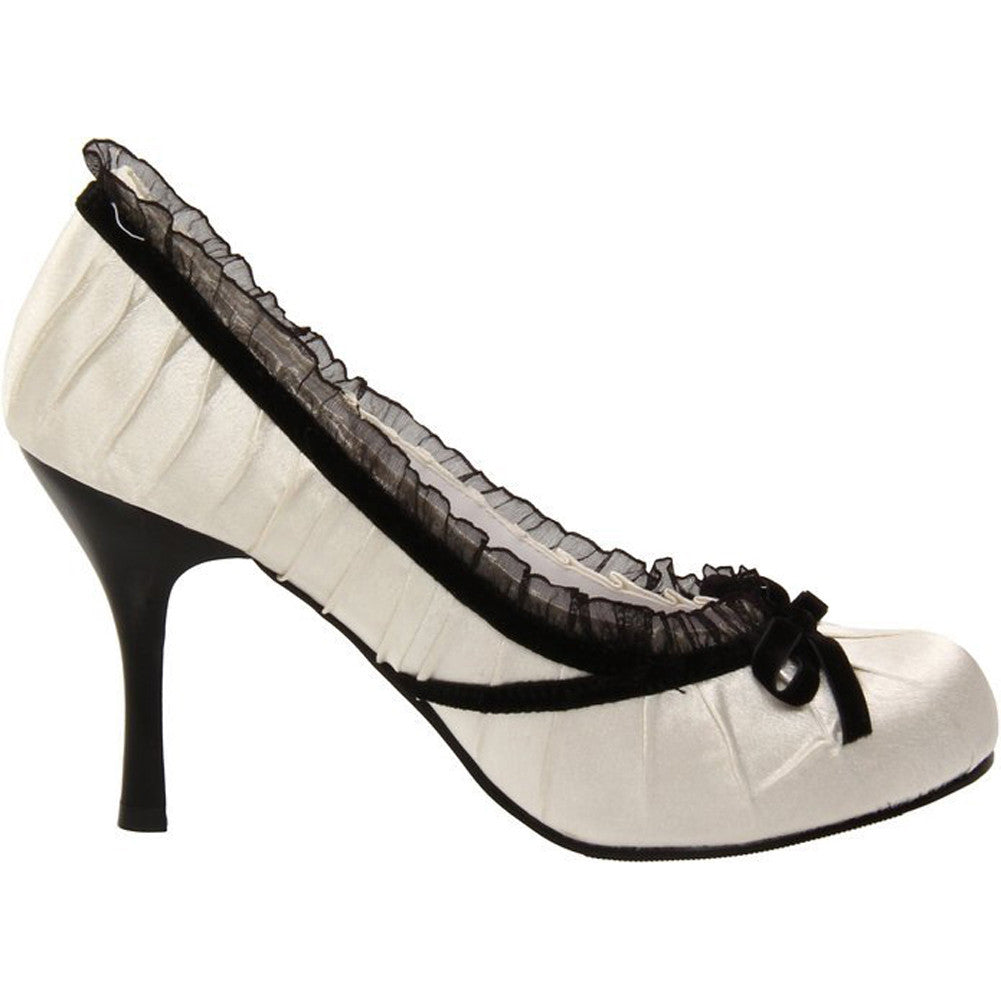 Women's Ellie Shoes 406-Doll Satin Pump White Retro Vintage Pin Up Ruffles Bow