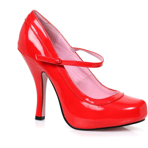 Women's Ellie Shoes 423-BABYDOLL Mary Jane Platform Pump Red Retro Pin Up