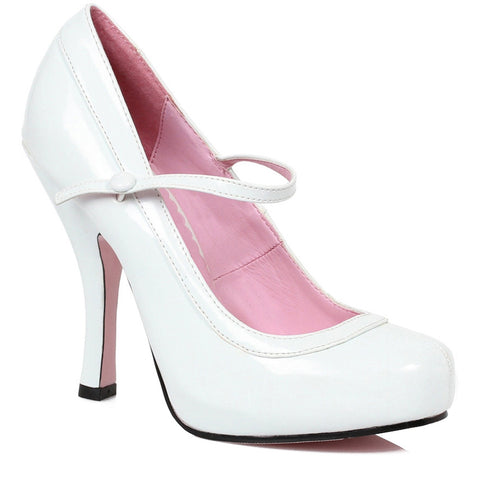 Women's Ellie Shoes 423-BABYDOLL Mary Jane Platform Pump White Retro Pin Up