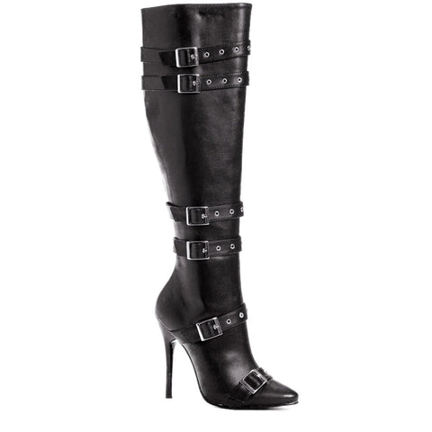 Women's Ellie Shoes 516-LEXI Knee High Boot Black  Buckle Detail