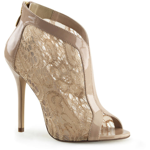 Fabulicious Amuse-48 Lace Overlay Bootie Nude Sexy Shoes Heels