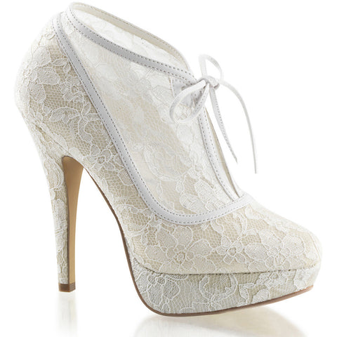 Fabulicious LOLITA-32 Mesh Lace Over Lay Ankle Boot Ivory Sexy Shoes Heels