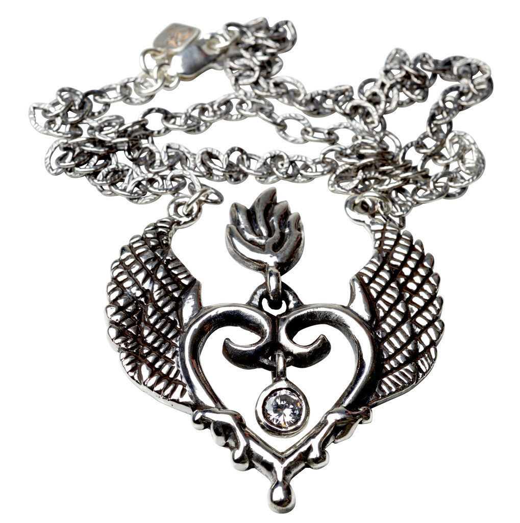 Femme Metale .925 Sterling Silver Winged Sacred Gem Necklace Heart