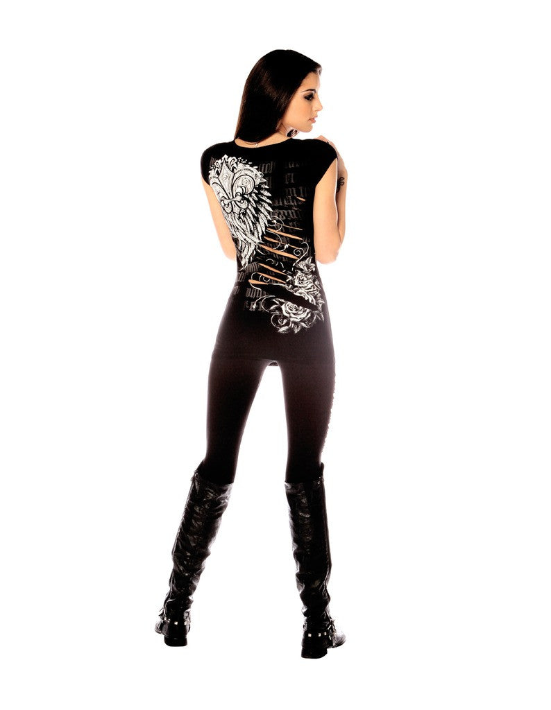 Women's Folter Cut Up Leggings Black Punk Rock Slashed