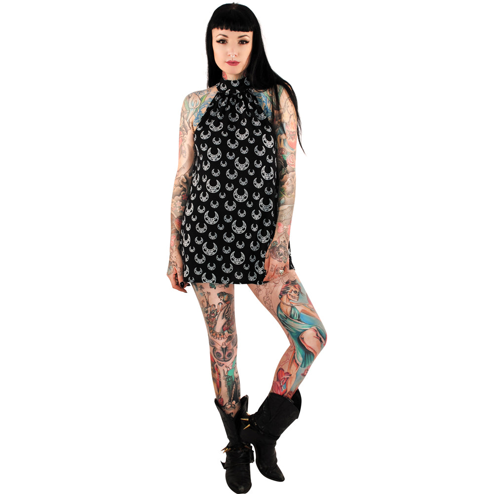 Folter Crescent Moon High Neck Dress Black Moon Doll Witch Goth Alternative