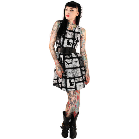 Folter Macabre Dress Black/White Bats Cats Spiders Webs Goth Gothabilly
