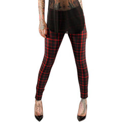Women's Folter Plaid Leggings Red Old School Punk Inspired