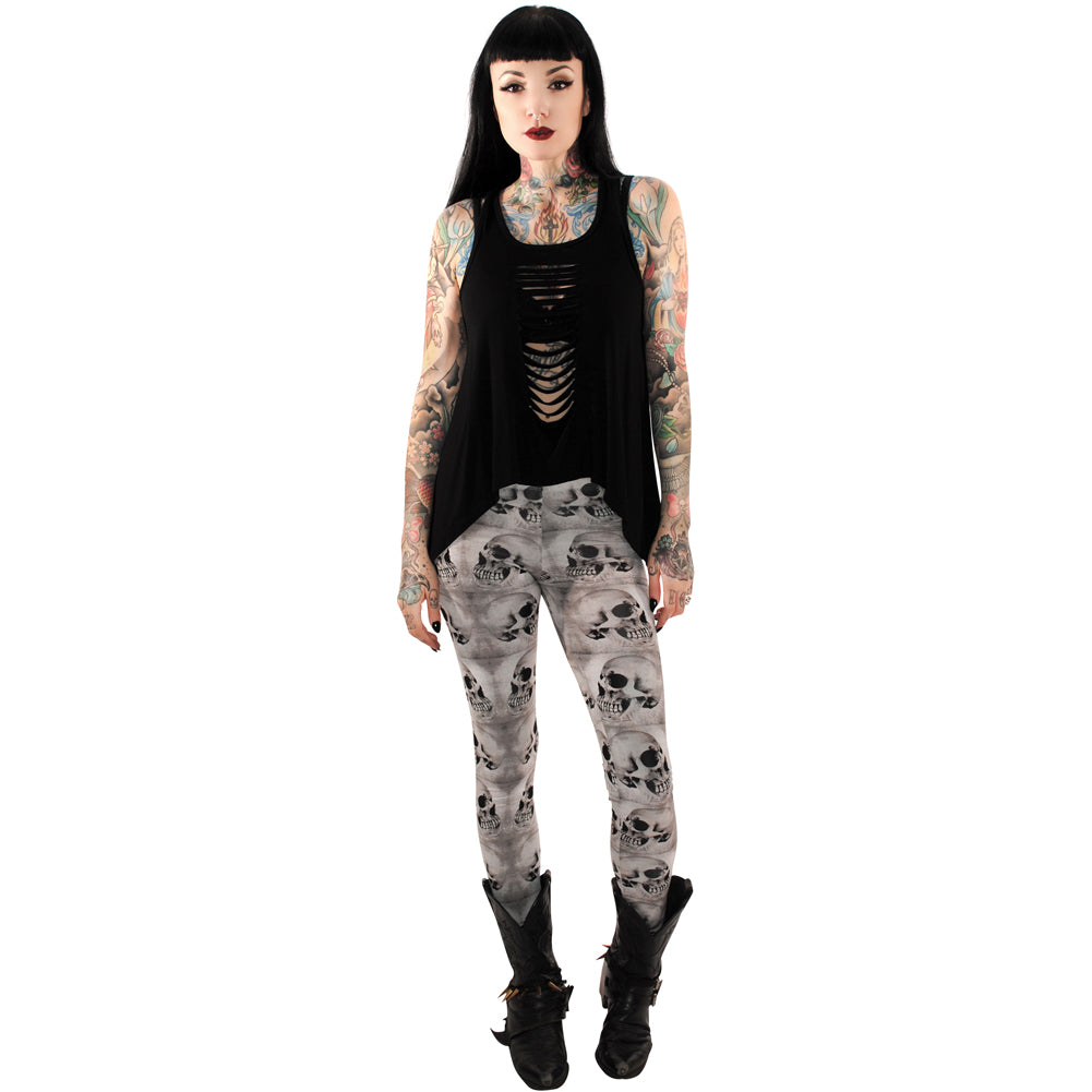 Women's Folter Profiles Leggings Grey Skulls Punk Goth Alternative
