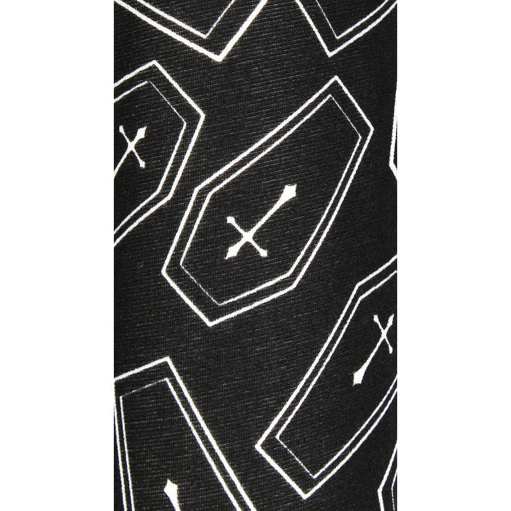 Women's Folter RIP Leggings Black/White Goth Nugoth Coffins Crosses