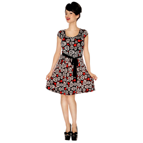 Women's Folter Stars & Skulls Open Rockabilly Pinup Retro Tattoo Black Dress
