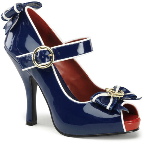 Women's Funtasma Anchor-22 Platform Mary Jane Shoe Navy Nautical Rockabilly Bow