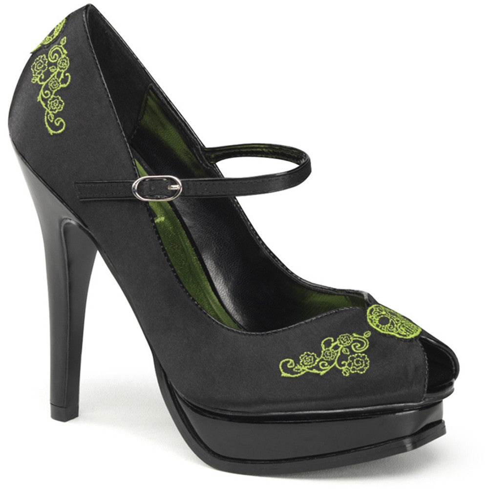 Women's Funtasma Pleasure-12 Platform Mary Jane Pump Black/Green Day of the Dead