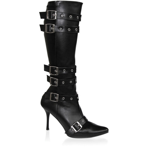 Women's Funtasma Spicy-138 High Heel Boot Black Straps Buckles Punk Goth