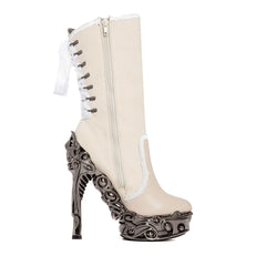 Hades ANALIA High Heel Boot White/Silver Goth Steampunk Alternative