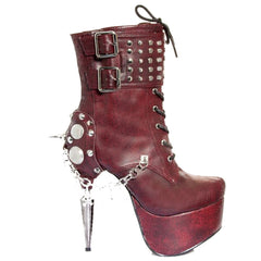 Womens Hades Artemis Platform Lace Up Boot Burgundy Punk Alternative Spiked Studs