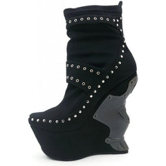 Women's Hades Blade Wedge Black Suede Punk Alternative Metal Studs
