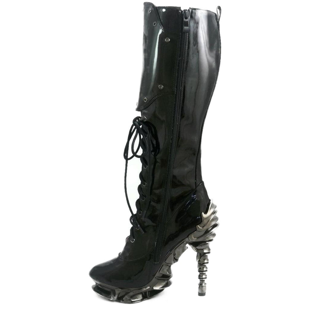 Women's Hades Hyperian Boot Black Punk Steampunk Goth Alternative Fetish Spine