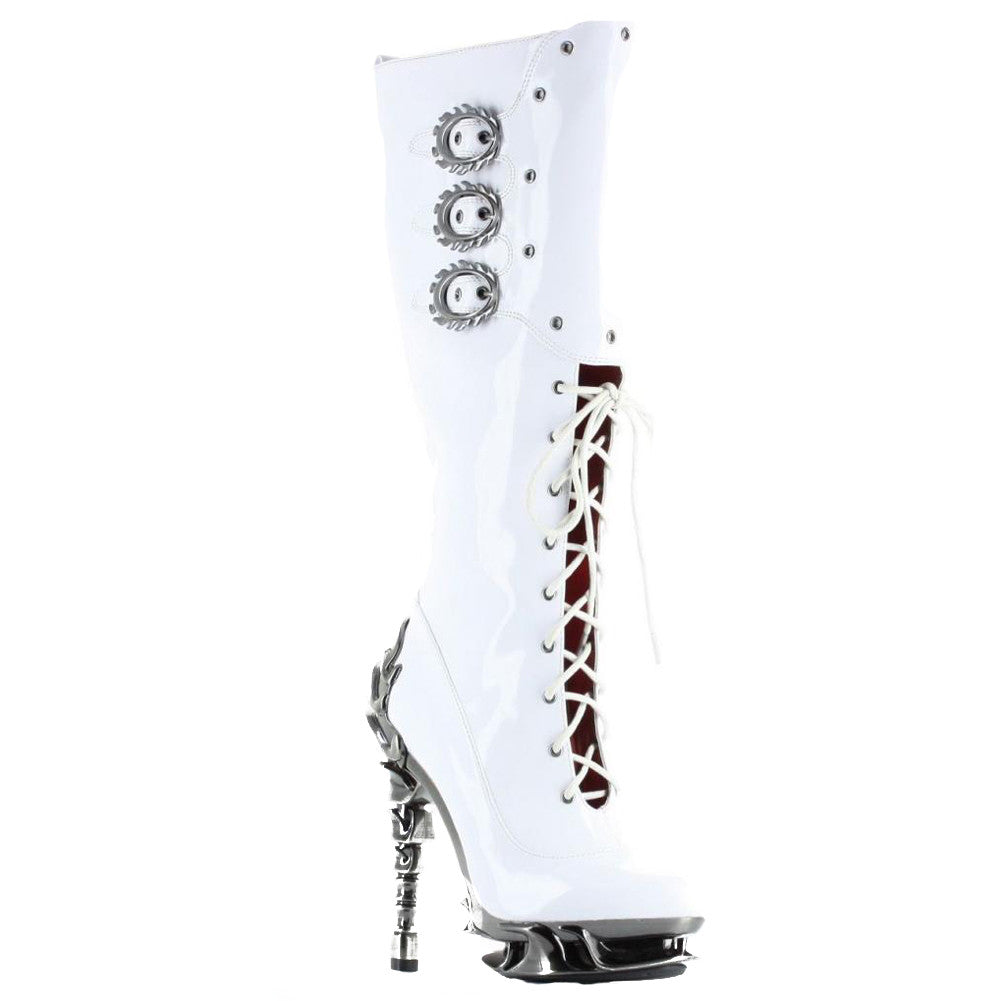 Women's Hades Hyperian Boot White Punk Steampunk Alternative Spine