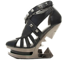 Women's Hades Krace Platform Iceberg Wedge Pump Black Punk Goth Alternative Studs
