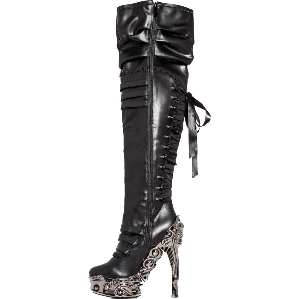 Hades LOKIE Thigh High High Heel Boot Black Goth Punk Alternative