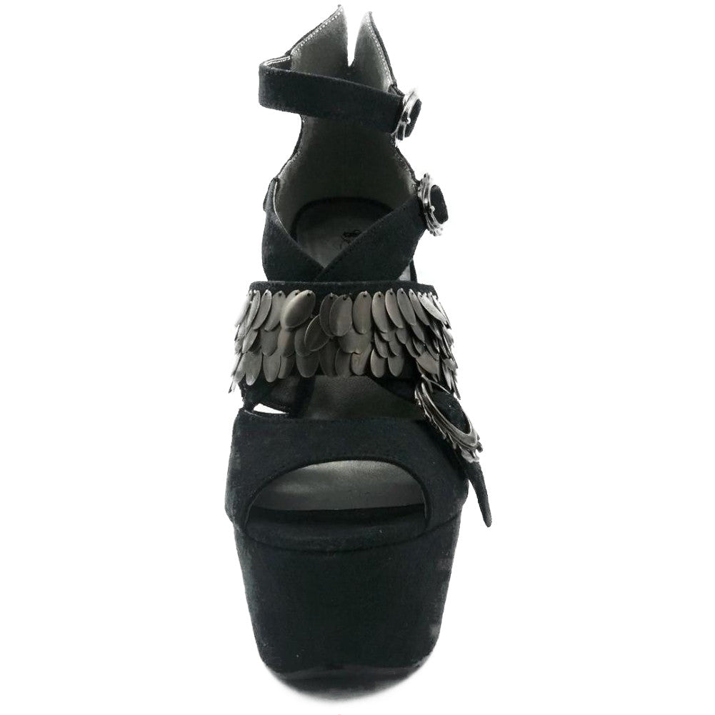 Women's Hades Leia Open Toe Heel Black Suede Alternative Metal