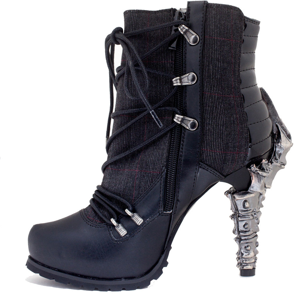 Hades Shade Ankle Boot Black Goth Punk Spine Vertebre