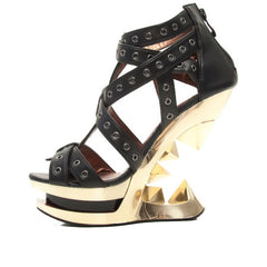 Women's Hades Taunt Golden Wedge Pump Black/Gold Punk  Alternative Spiked Eyelets