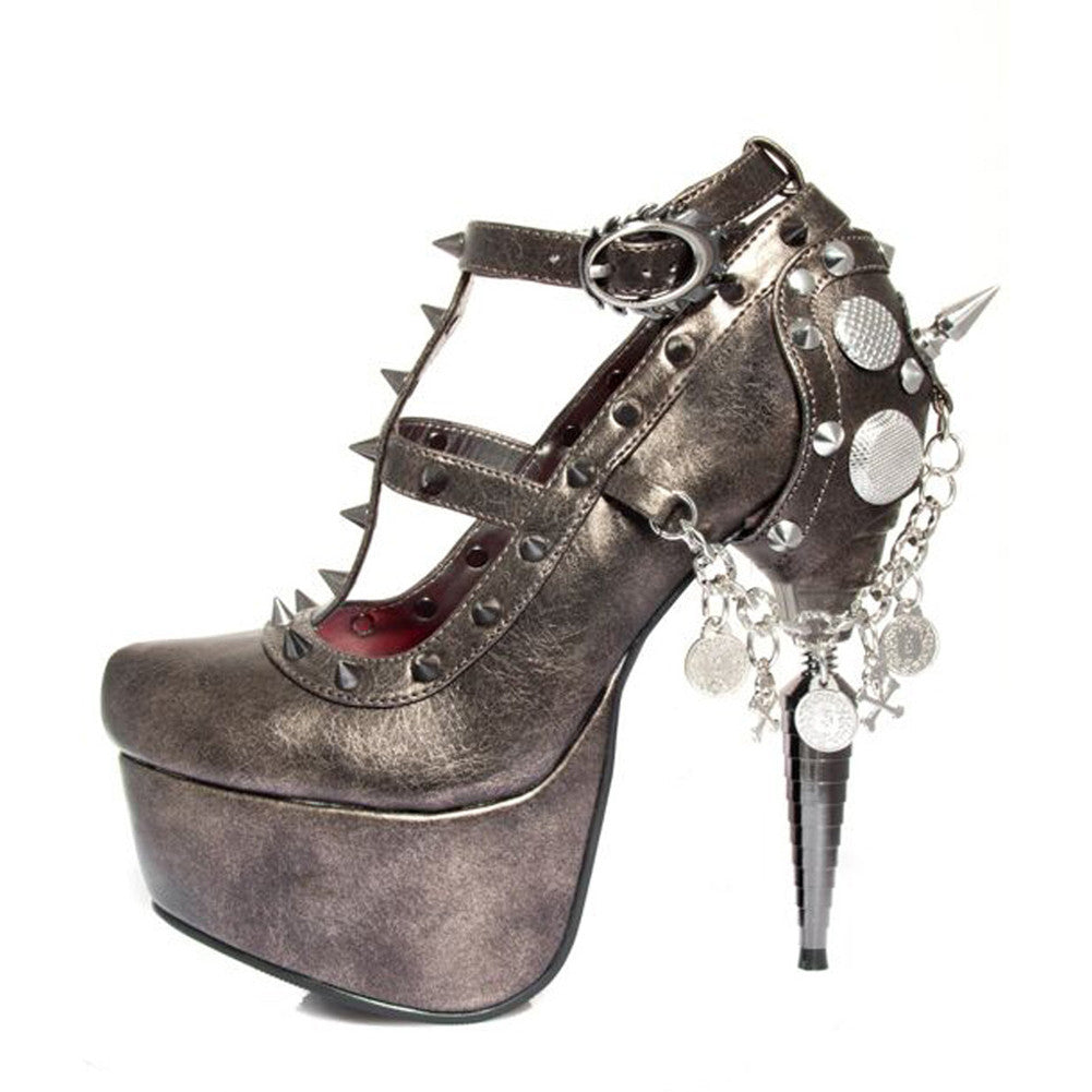 Women's Hades Trinity Platform Pump Gunmetal Grey Punk Alternative Spiked Chain