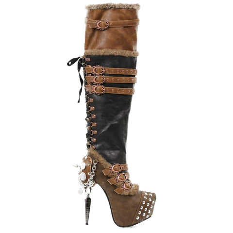 Women's Hades Ventail Boot Black Brown Punk Rock Steampunk