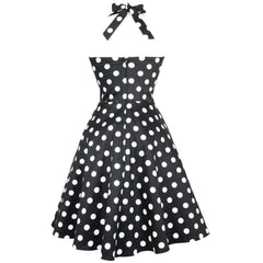 Women's Hemet Black White Polka Dots Full Circle Skirt Pinup Dress Rockabilly