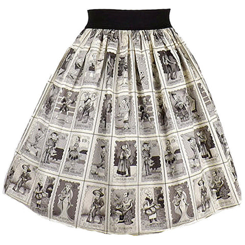 Women's Hemet Black and White Loteria A-Line Pleated Skirt Day of the Dead Retro