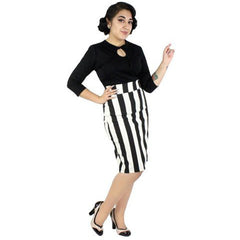 Hemet Black and White Striped Pin Up Pencil Skirt Black/White Rockabilly Retro