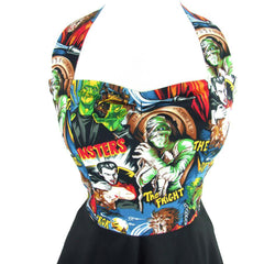 Women's Hemet Classic Monsters Full Swing Skirt Pinup Dress Frankenstein Dracula