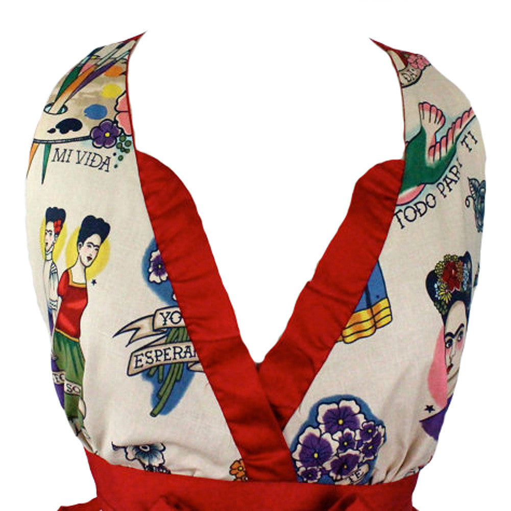Women's Hemet Colorful Frida V-Cut Apron Beige Latina Mexican Art