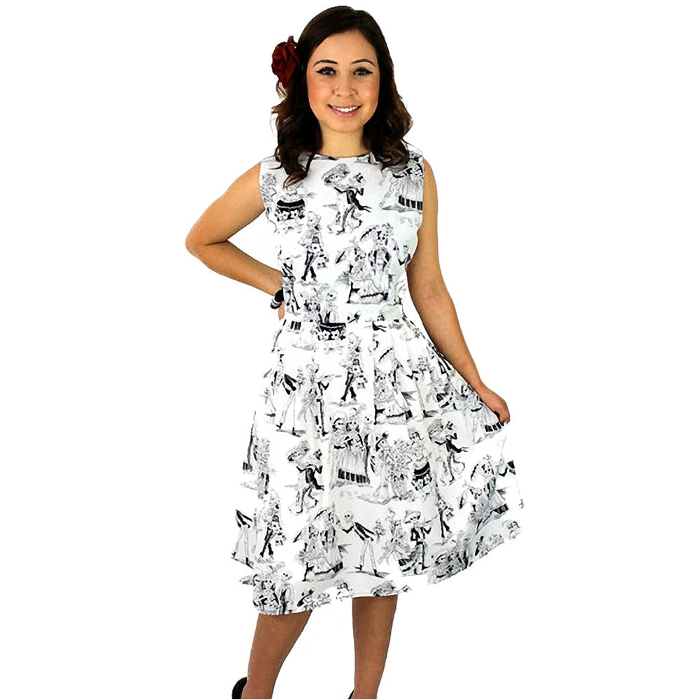 Women's Hemet Day Of The Dead Pleated Dress White Dancing Skeletons Latina