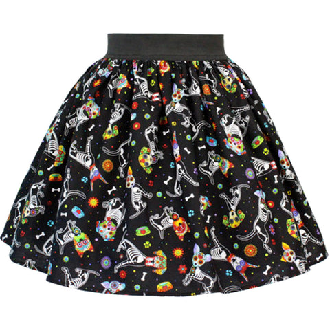 Hemet Day of the Dead Dog Pleated Skirt Black Rockabilly Latina
