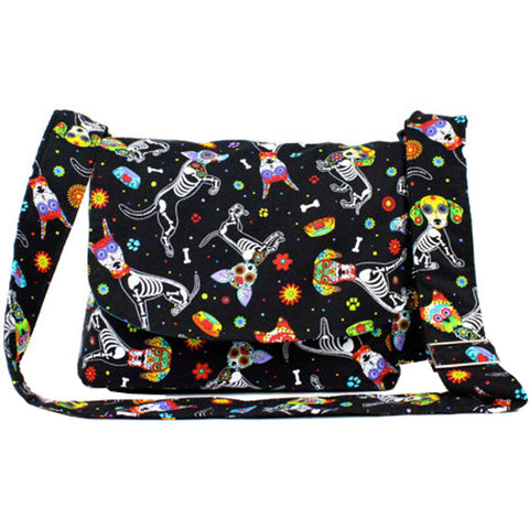 Hemet Dog Day of the Dead / Dia de los Muertos Inspired Bag Black