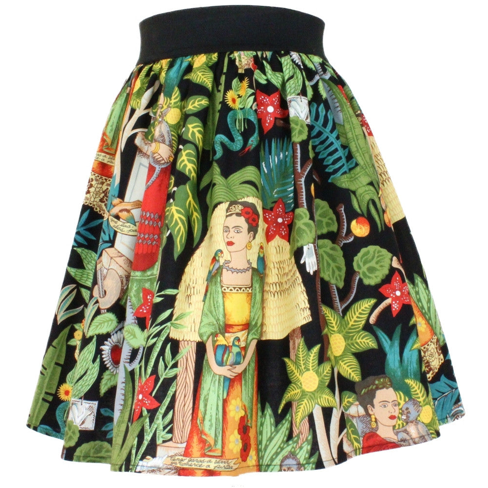 Women's Hemet Frida Pleated Skirt Black Mexican Art Retro Rockabilly