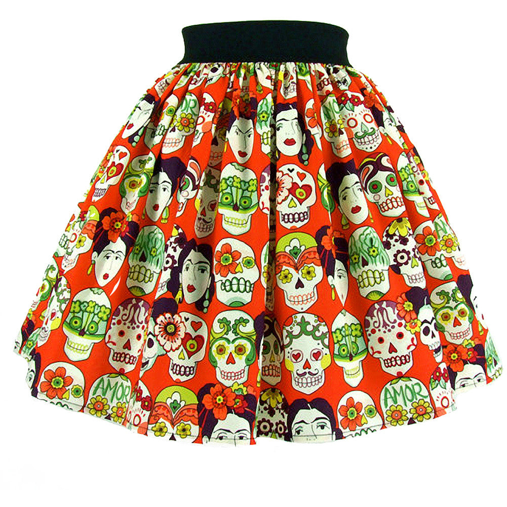 Women's Hemet Frida and Skulls A-Line Skirt Day of the Dead Sugar Skulls