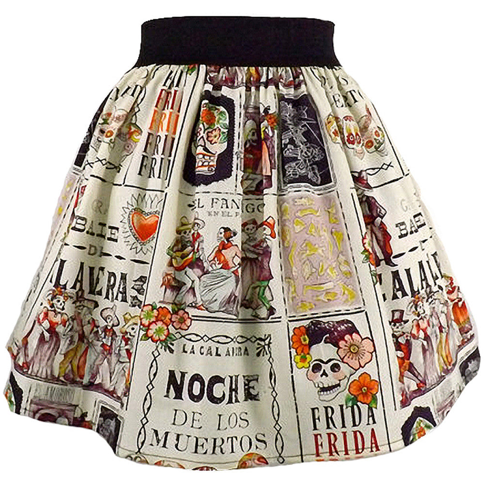 Women's Hemet Frida and Skulls Pleated Skirt Day of the Dead Sugar Skulls
