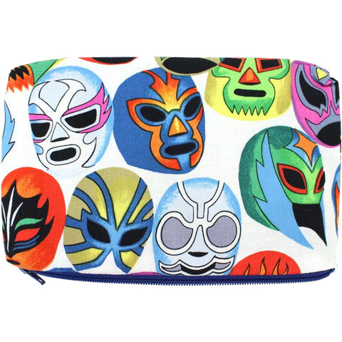 Women's Hemet Lucha Libre Mascaras Wallet/Makeup Bag White Mexican Wrestling