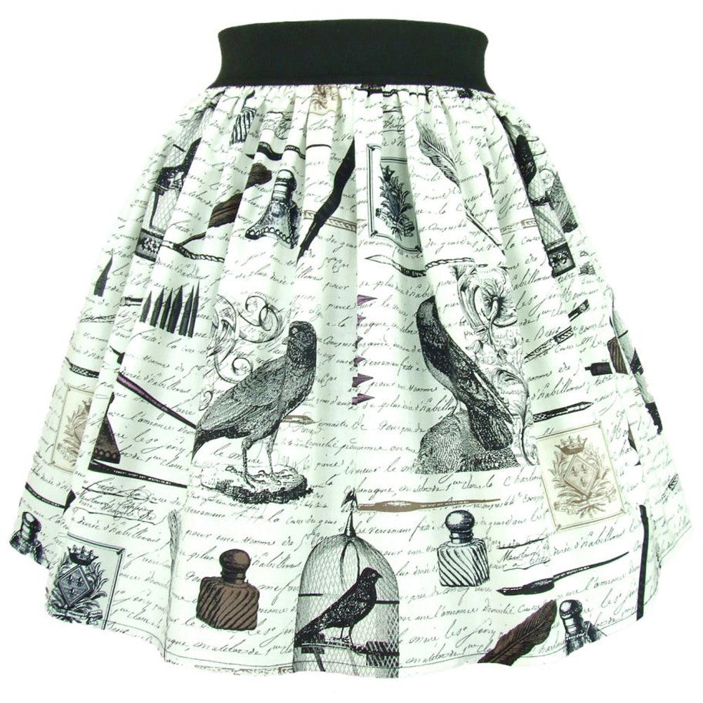 Women's Hemet Nevermore A-Line Skirt Raven Retro Vintage Rockabilly Pin Up