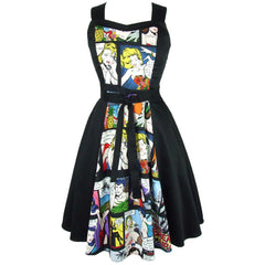 Women's Hemet Pinup Comic Black Full Circle Dress Retro Vintage Rockabilly