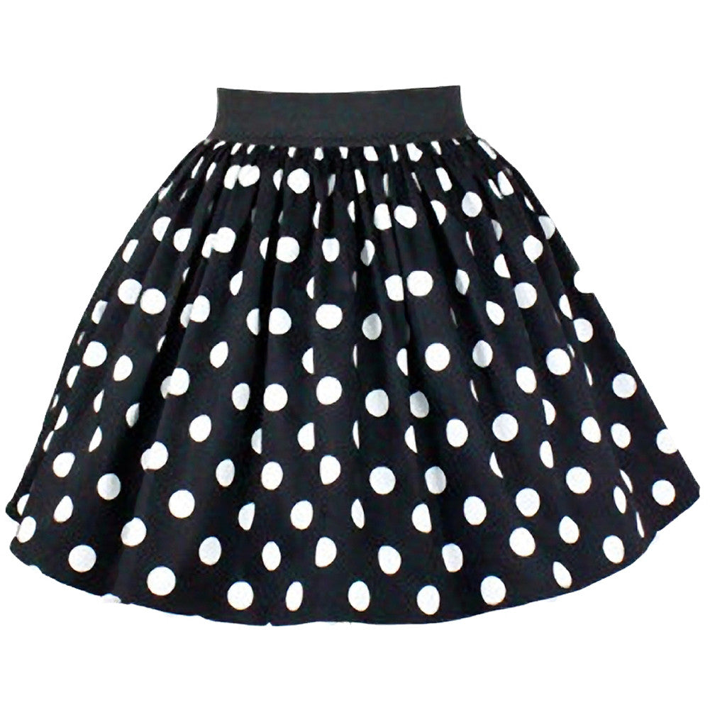 Women's Hemet Pleated Polkadots Skirt Black  Retro Vintage Rockabilly Pin Up