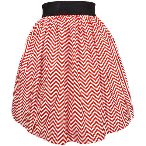 Women's Hemet Red Chevron Stripes A-Line Pleated Skirt Retro Vintage Rockabilly
